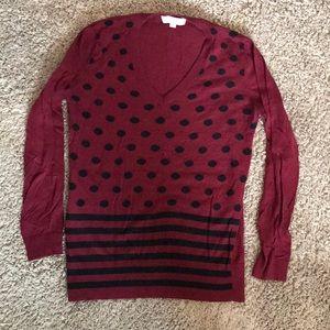 Crimson and black Loft sweater medium
